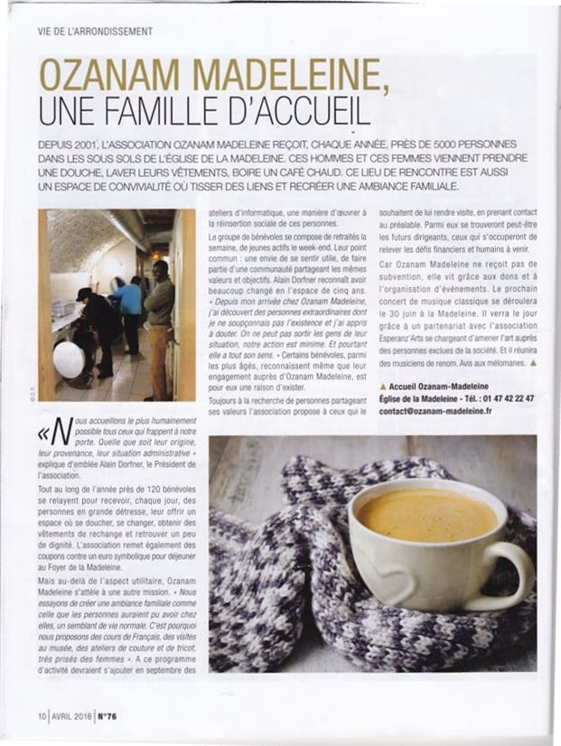 Article de presse sur l'association, paru dans le journal local du 8ème arrondissement