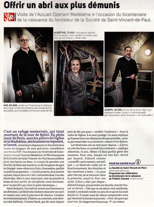 """Article de presse sur l'association, paru dans le magazine """"La Vie"""""""