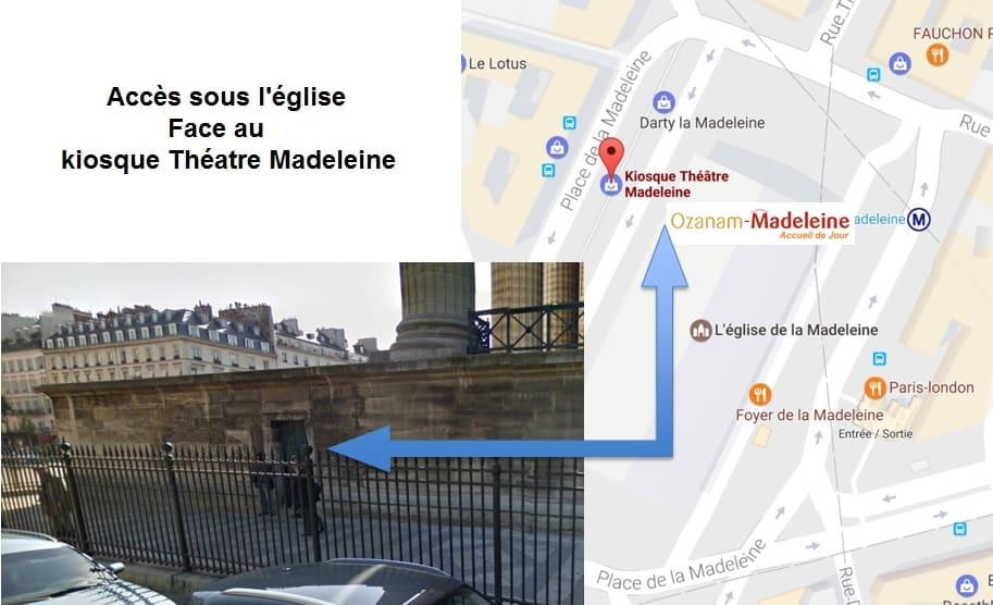 Plan détaillé d'accès à l'accueil Ozanam Madeleine